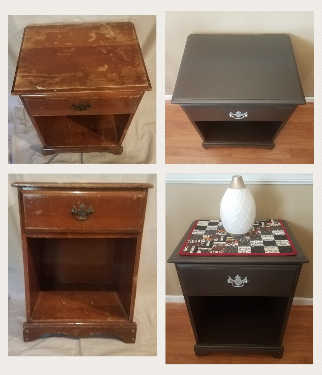 Painting Project Refurbished Night Stand With Silver Handle